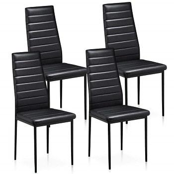 Oferta Amazon! Pack de 4 cadeira em pele sintética por 45,9€
