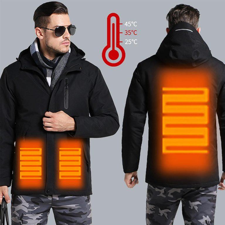casaco aquecido frente e tras