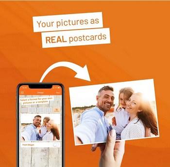 Envia um postal personalizado de Borla com (IOS & Android)