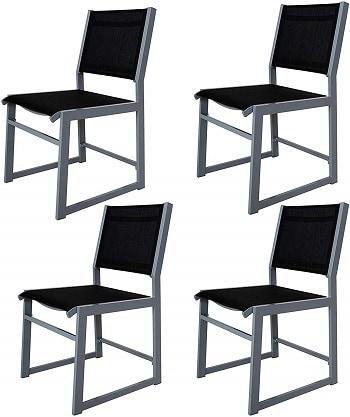 jogo de 4 cadeiras em aluminio