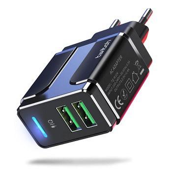 Carregador parede com duplo USB, 5v 2,4A por 1,8€