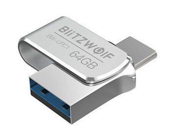 Pendrive Blitzwolf 2 em 1, Type-C USB 3.0