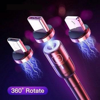 Mini Preço! Cabo USB magnético, Micro USB Tipo-C ou lightning por 0.55€
