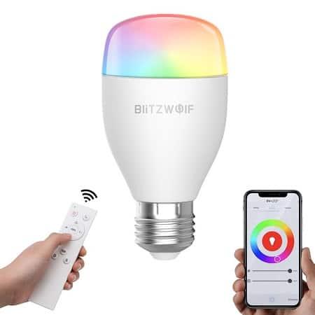 Lâmpada BlitzWolf BW-LT27 com controlo remoto IR e WiFi, compatível com Alexa e Google Home por € 8,9€