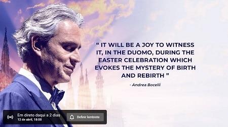 Concerto de Andrea Bocelli 12/04/2020 às 18h00- Música pela esperança – Ao vivo na Catedral de Milão