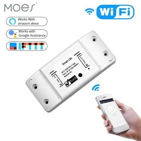Switch inteligente MOES WiFi compatível com Alexa e Google Home por apenas 3,62€ com envio grátis
