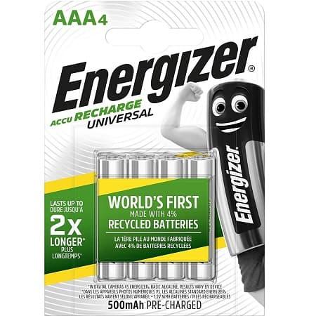 Promoção Amazon! 4 Pilhas Recarregáveis Energizer 500mAh por 3,99€