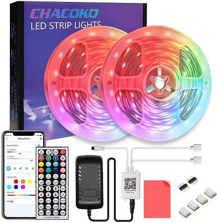 Fita LED RGB 20M com controlo remoto + App via Bluetooth por 10,5€