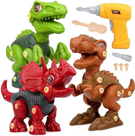 Jogo de construção dinossauros, inclui Tiranossauro Rex, Velociraptor e Triceratops + Berbequim elétrico só 12,19€