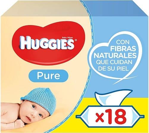 Desconto Amazon! 18 pacotes de 56 (1008 uni) Toalhitas Hugguies Pure a 14,2€