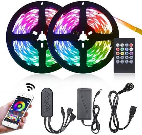 Oferta Amazon! 10 mt Fita LED RGB (300 LEDs) Controlo por APP + Comando por 9,99€