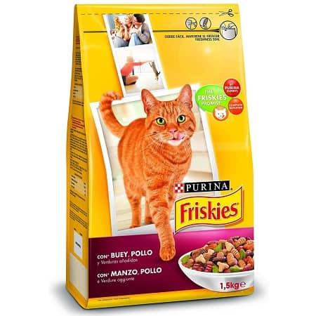 6 x 1,5 Kg (9 Kg) Purina Friskies Alimentos para Gatos com Vaca, Frango e Legumes só 9,50€